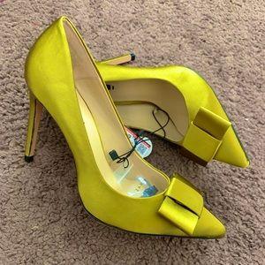 New Zara Olive Green Satin Bow Court Pump Heels 38